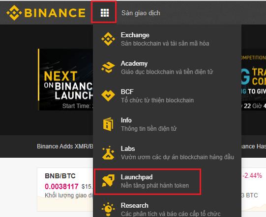 Bước 1. Chọn Binance Launchpad