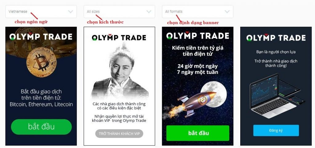 Chọn banner Olymp Trade