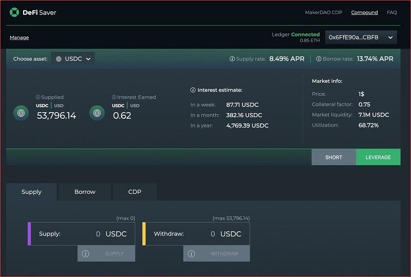 defi saver - gửi tiết kiệm bằng bitcoin và tiền điện tử