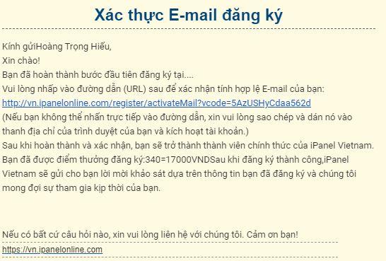 Vào email nhấp vào link xác thực để xác thực email
