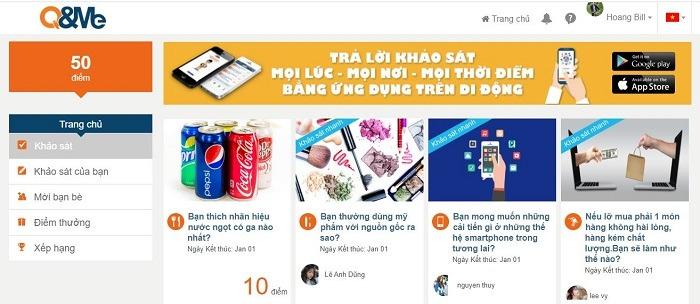 q&me top trang khảo sát kiếm tiền nhiều nhất tại việt nam