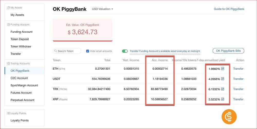 Lãi suất Okex trong 7 ngày - gửi tiết kiệm bằng bitcoin