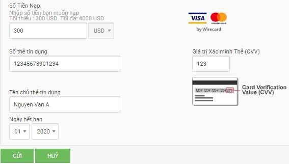 Điền thông tin thẻ Visa - hướng dẫn mở tài khoản thật zulutrade