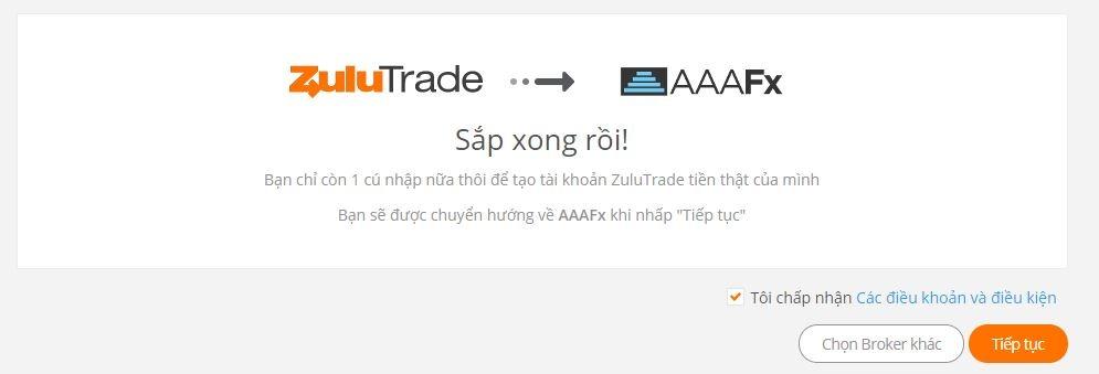 Hoàn thành đăng ký AAAFx - hướng dẫn mở tài khoản thật zulutrade