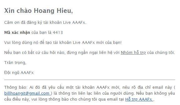 Email xác nhận đăng ký AAAFx - hướng dẫn mở tài khoản thật zulutrade