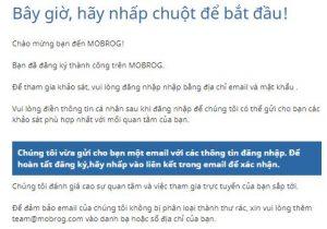 Thông báo gửi email xác thực