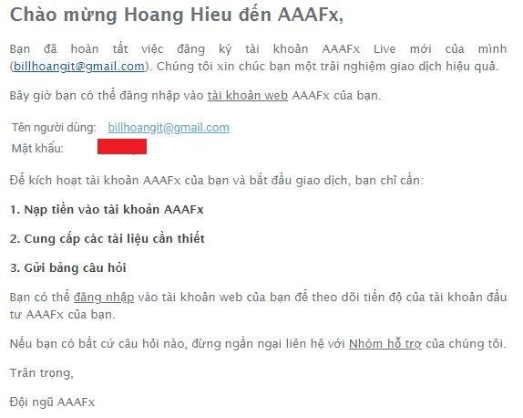 Thông tin đăng nhập AAAFx
