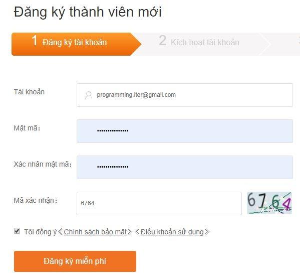 Điền thông tin đăng ký tài khoản Viewfruit