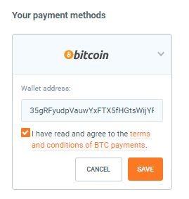 chọn phương thức thanh toán bằng bitcoin
