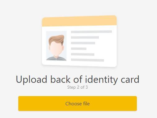 Ấn Choose file để upload mặt sau chứng minh thư - hướng dẫn đăng ký Binance