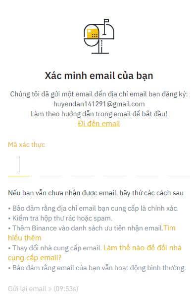 Điền mã xác minh email vào đây - hướng dẫn đăng ký Binance