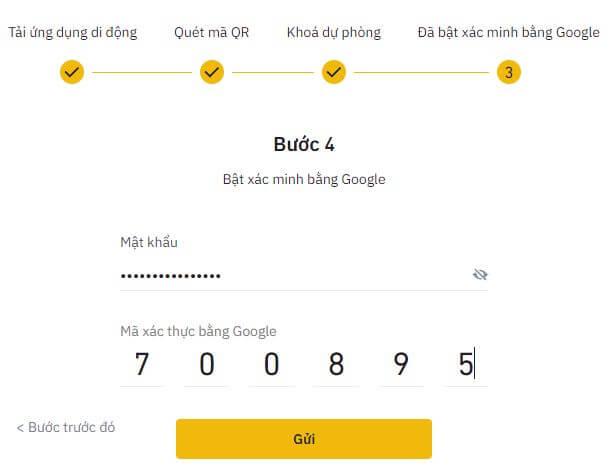 Bật xác minh Google cho Binance