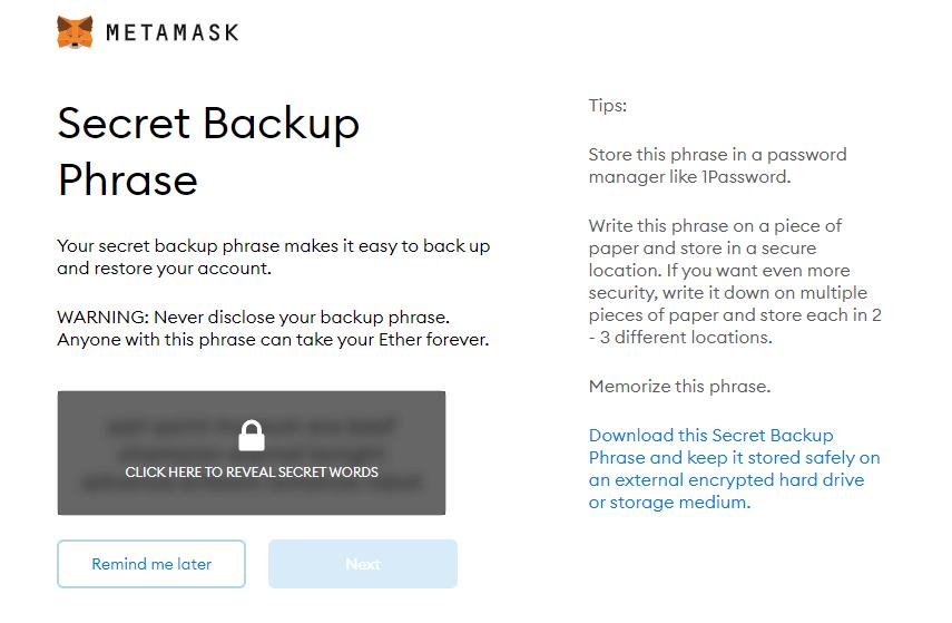 cài đặt mật khẩu metamask